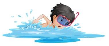 A little boy swimming