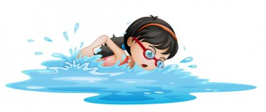 Illustrtaion of a girl swimming with goggles on a white background stock vector