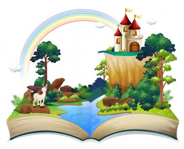 A book with a castle at the forest