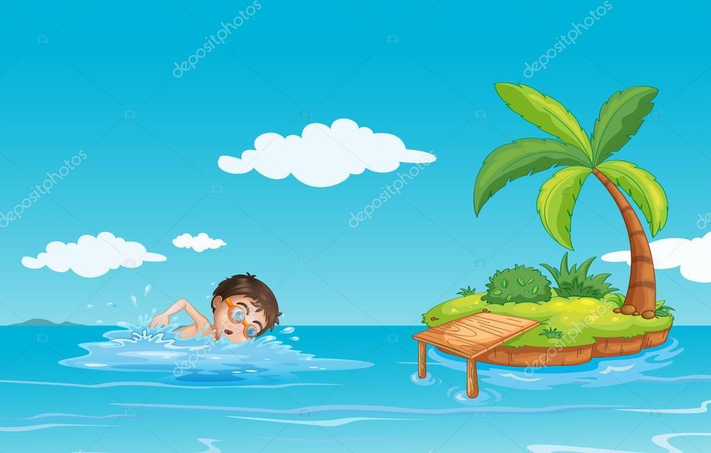 Un Niño A Nadar En La Playa