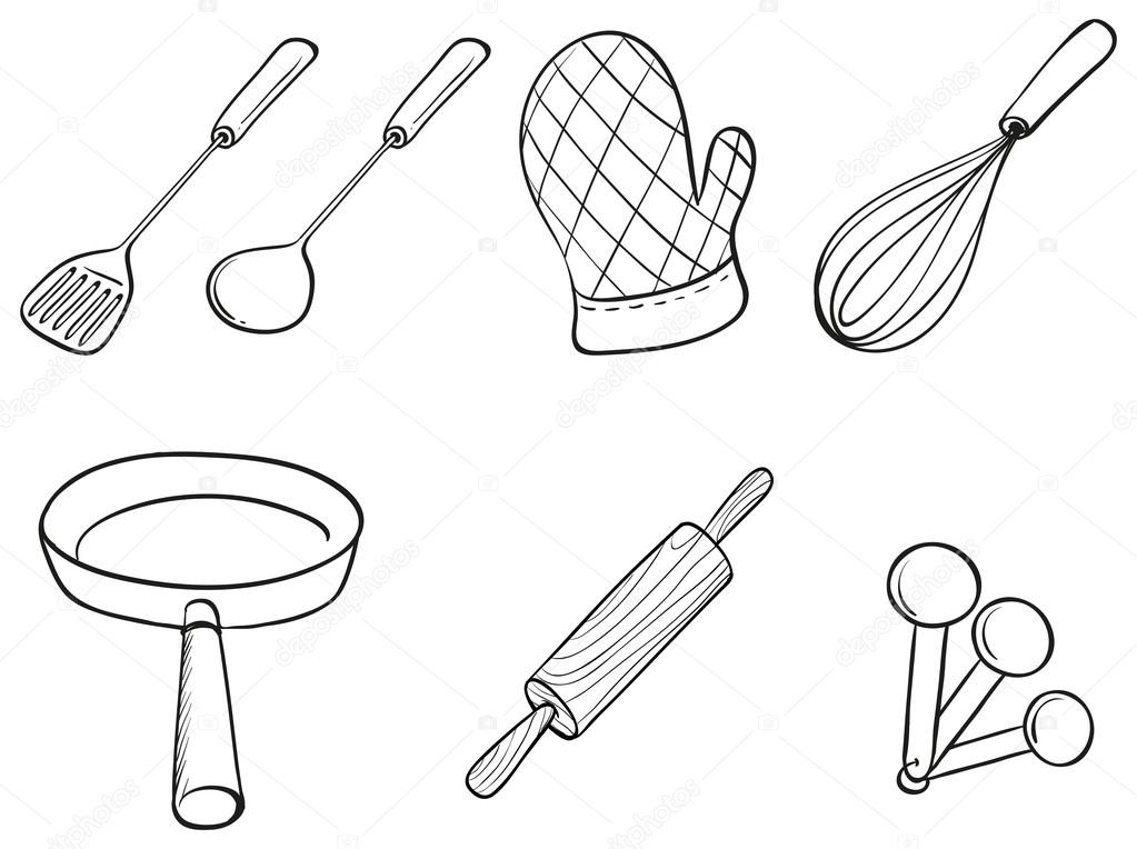 Silhouettes of kitchen utensils stock vector for Kitchen set drawing