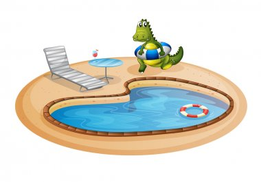 A swimming pool with a crocodile inside a buoy