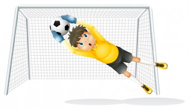 A boy practicing to catch the soccer ball