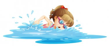 Illustration of a girl wearing a pink swimwear swimming on a white background clip art vector
