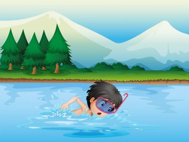 A river with a kid swimming