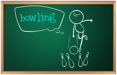 A blackboard with a drawing of a kid playing bowling