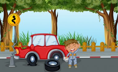 A boy with tools and a red car at the road