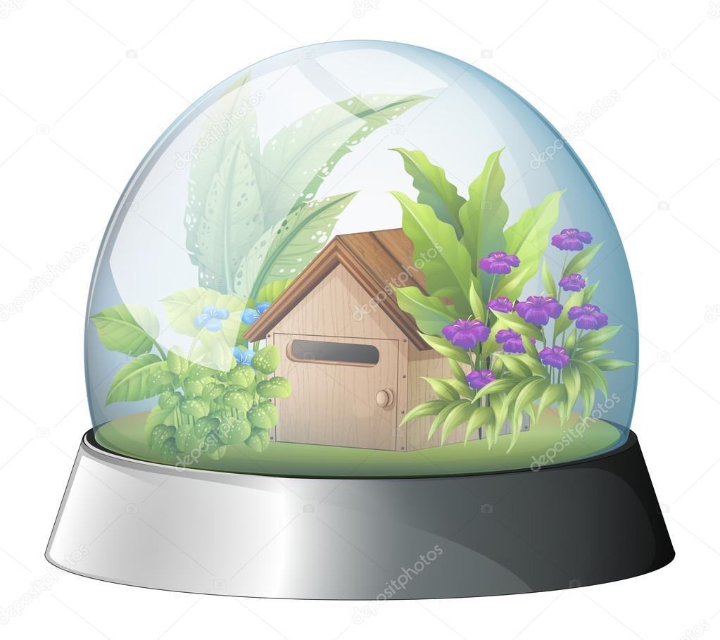 Abbildung Einer Kuppel Mit Einem Systemeigenen Haus Innen Auf Weißem  Hintergrund U2014 Vektor Von Interactimages