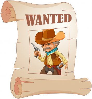 A paper with a print of a wanted cowboy