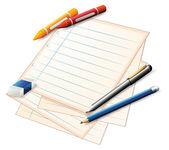 papír s pastelky a tužky