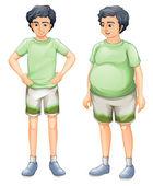 dva chlapci s stejné tričko, ale různých tělesných velikostí