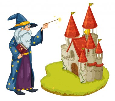 A wizard holding a book and a magic wand in front of the castle