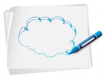 Illustration of a paper with an image of an empty callout and a crayon on a white background clip art vector