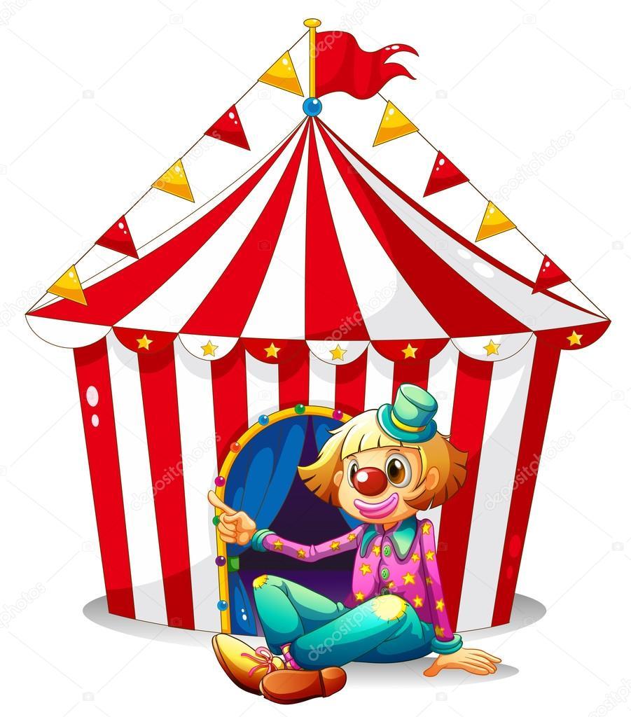 Un clown assis devant un chapiteau de cirque rouge image vectorielle interactimages 26162903 - Dessin d un chapiteau de cirque ...