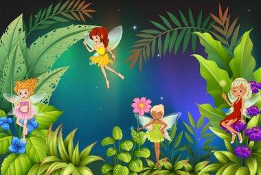 A garden with four fairies