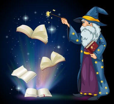 An old wizard holding a book and a wand