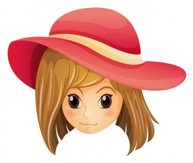 A girl wearing a red hat