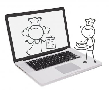 A laptop with an image of chefs