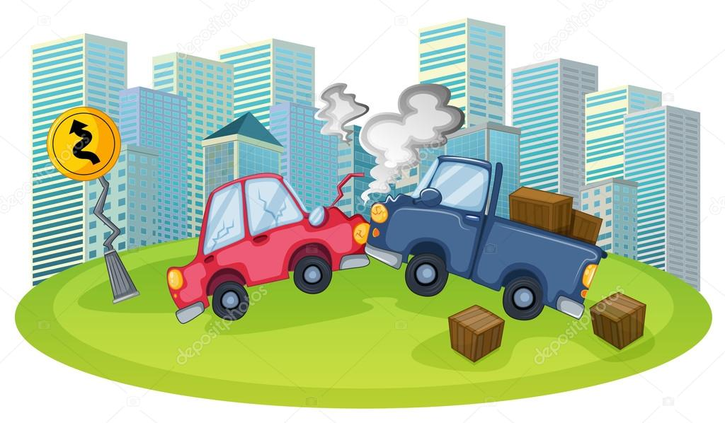 ein Autounfall vor den hohen Gebäuden — Stockvektor © interactimages ...