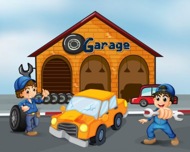 A damaged car in the middle of two boys in front of the garage