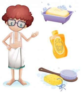 Illustration of a boy with a soap, shampoo, brush and sponge on a white background clip art vector