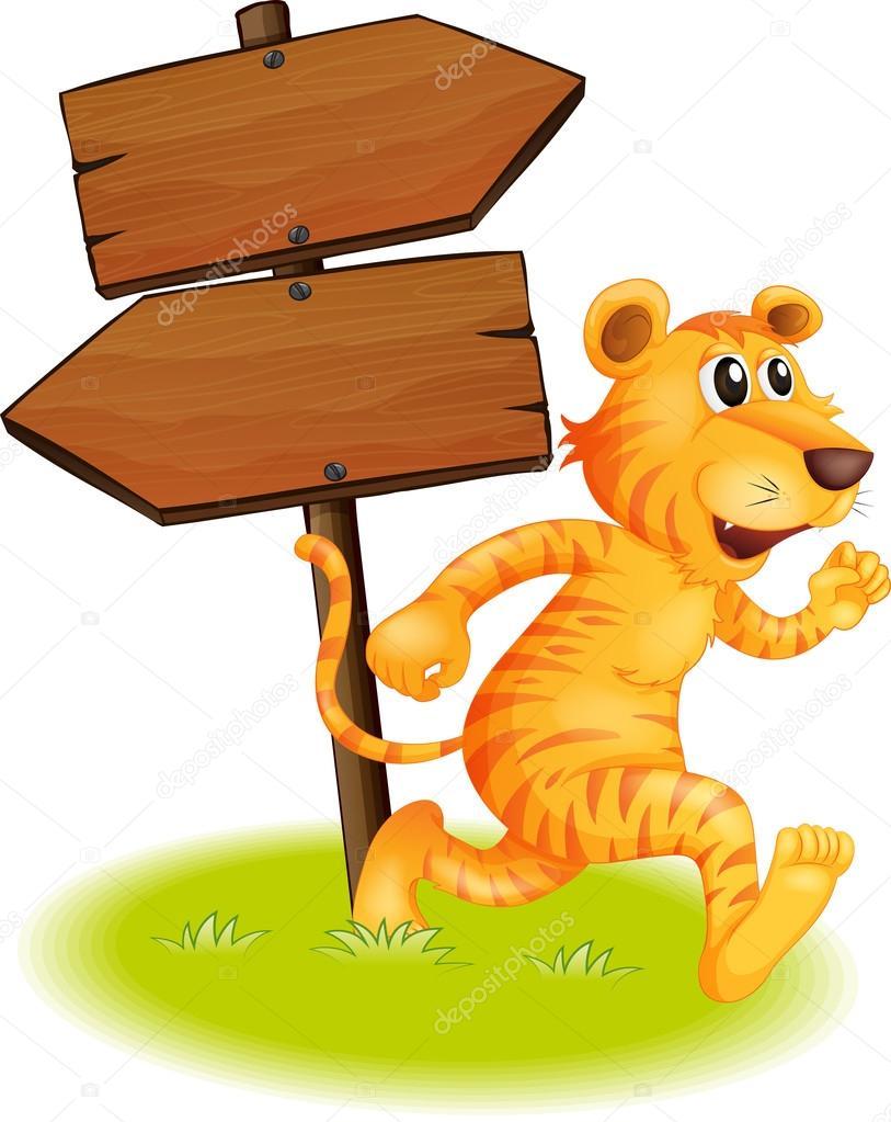 Un Tigre Corriendo Y Los Letreros Vacios Vector De Stock