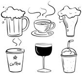 Fotografie Doodle-Design über die verschiedenen Arten von Getränken