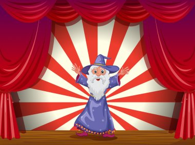 A wizard in the middle of the stage with a red curtain