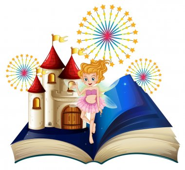 A storybook with a fairy, a castle and fireworks