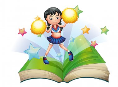 A storybook with a cheerdancer dancing
