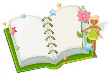 An open book with a fairy holding a pink flower