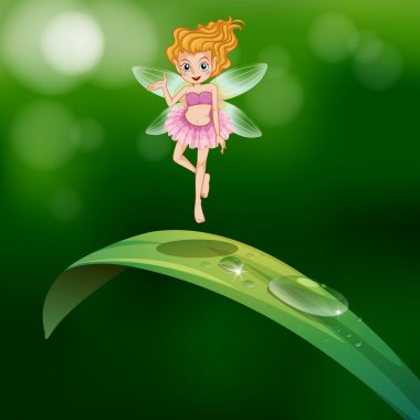 Illustration of a beautiful fairy above an elongated green leaf clip art vector