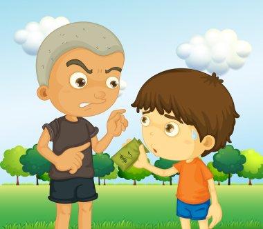 A boy scolding a kid with a money