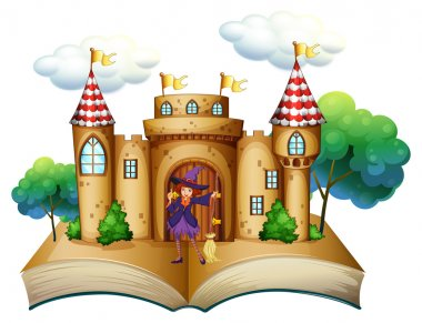 A storybook with a castle and a witch