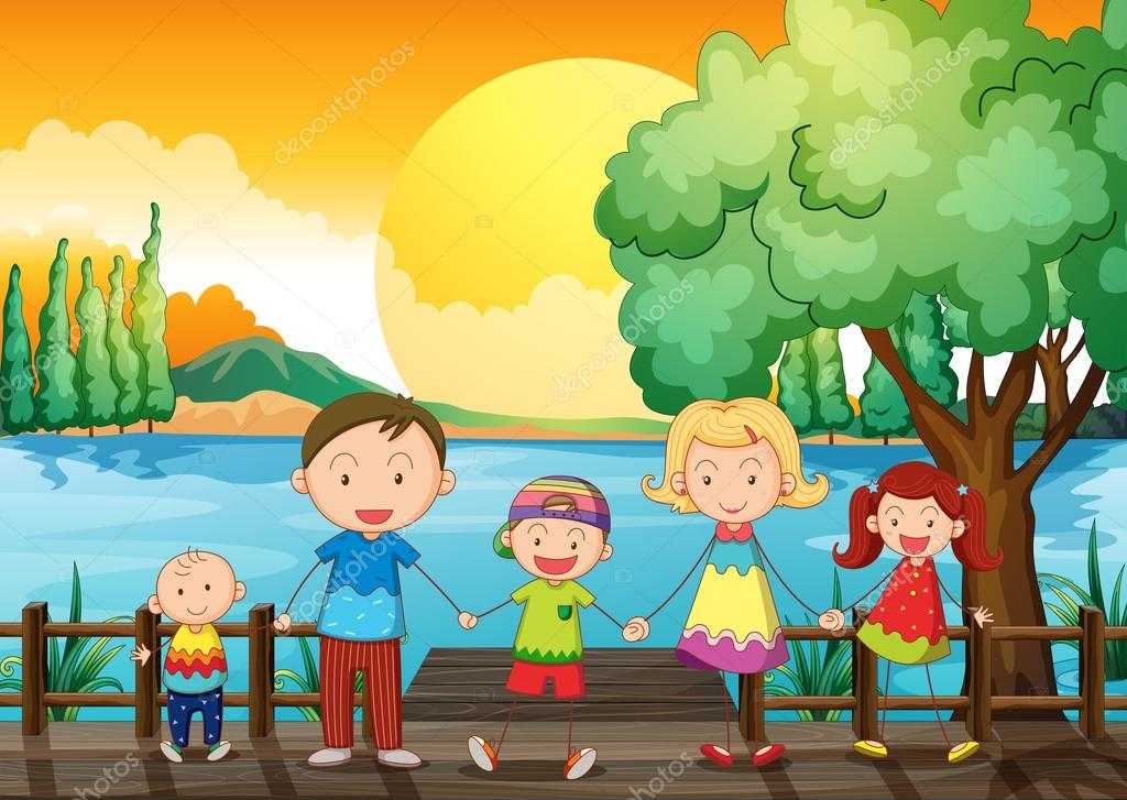 A happy family at the wooden bridge