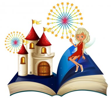 A storybook with a castle and a fairy