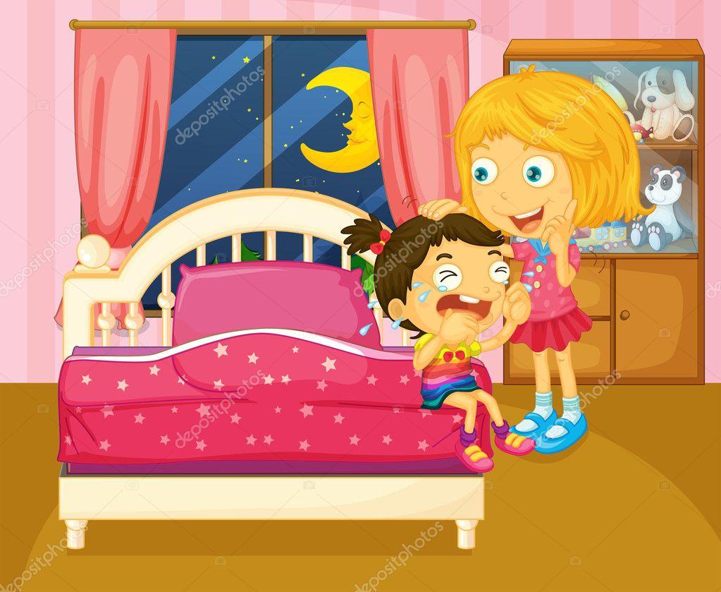 Una peque a ni a llorando al lado de su hermana dentro de - Habitacion pequena nina ...