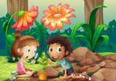 Dívka a chlapec díval na rostliny s lupou
