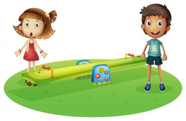 Illustration of a girl and a boy near the seesaw on a white background stock vector