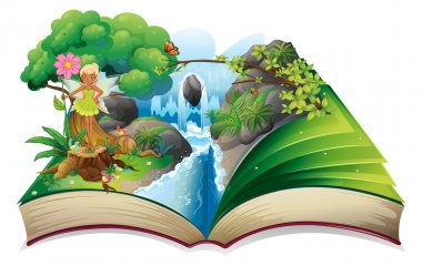 A book with an image of nature with a fairy