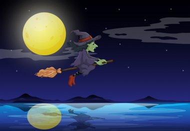 A witch riding on a broom travelling in the middle of the night