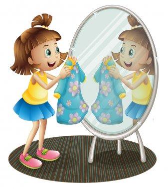 """Картина, постер, плакат, фотообои """"девушка, смотрящая в зеркало с платьем зеркало раме зеркала настенное круглые декоративное квадратные овальные"""", артикул 28312679"""
