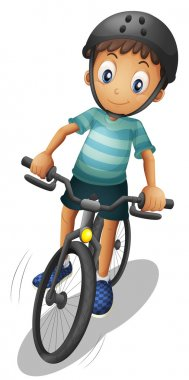 A boy biking wearing a helmet