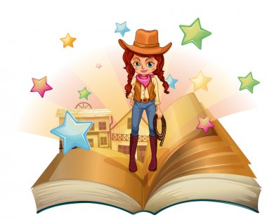 A book with a pretty cowgirl