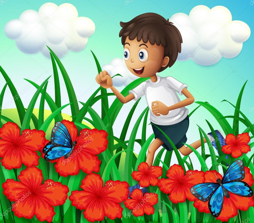 Un ni o en el jard n con flores y mariposas vector de for Figuras para el jardin
