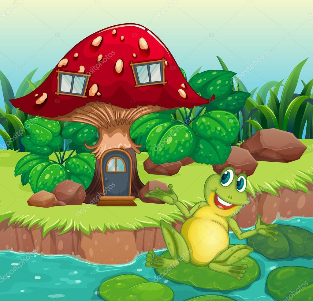 a frog and a mushroom house u2014 stock vector interactimages 28833861