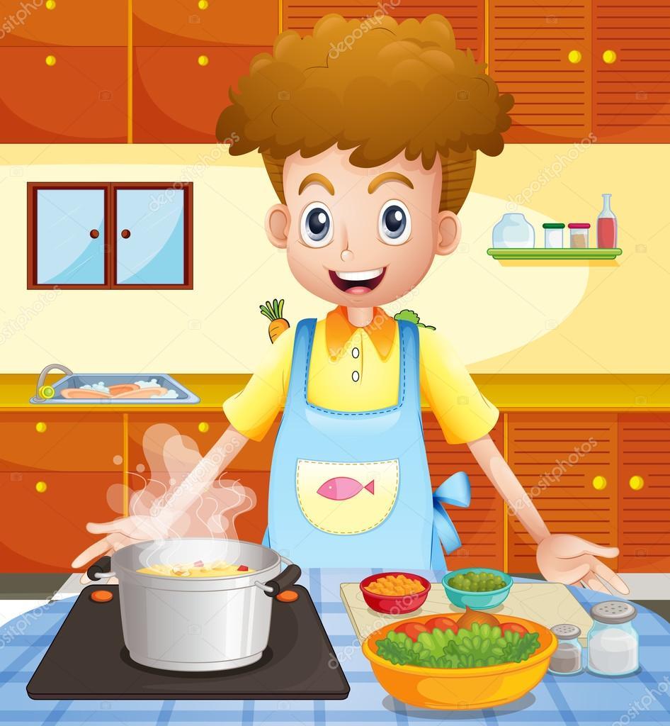 Una cocina con un hombre cocinando vector de stock for Cocinar para 5 personas