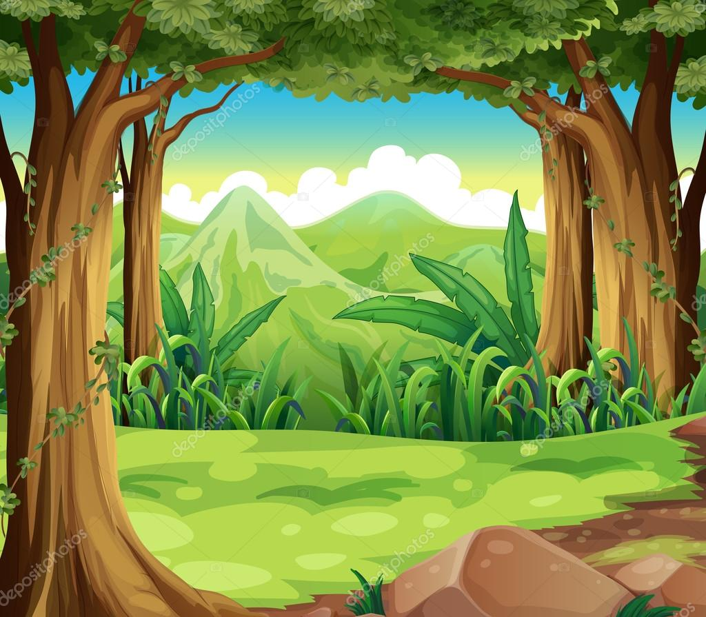 A green forest across the high mountains