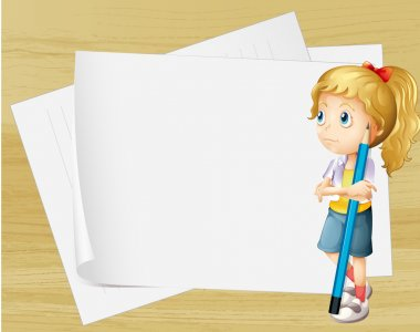 Illustration of a sad girl with a pencil standing in front of the empty papers clip art vector