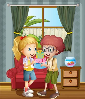 Illustration of the two kids exchanging presents clip art vector